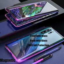 For Huawei P30 Pro Magnetic Case Gradient Metal 360 Front+Back double-sided 9H Tempered Glass Case for Huawei Mate 20 Pro Case for huawei p30 lite case 360 magnetic adsorption front back double sided 9h tempered glass case for huawei p30 pro