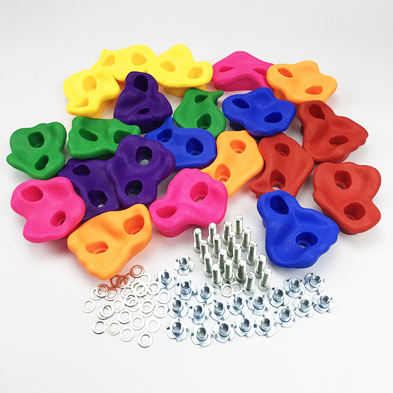 20 Pcs/lot Toys For Plastic Children Rock Climbing Wood Wall Stones Hand Feet Holds Grip Kits Gymnastic Fitness Hardware Toys