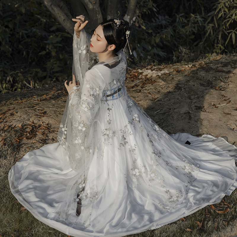 White Hanfu Women Traditional Dance Costumes Folk Festival Outfit Embroidery Fairy Dress Stage Rave Performance Clothing DC2705