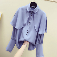 Fashion BlusasWomen New Korean Slim Bat Sleeve Shirt Ruffled Blue Shirts Chiffon Sweet Loose Long Sleeve Blouse Office Lady Tops