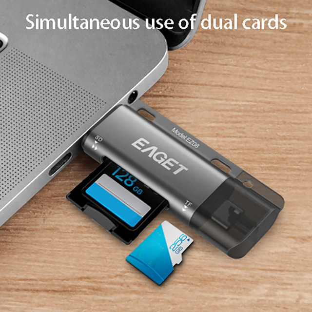 EAGET EZ08 Card Reader, Type-C Micro-USB USB 3.0 OTG High Speed Memory Card Portable  Multi-Function with for SD/TF Card Slot 3