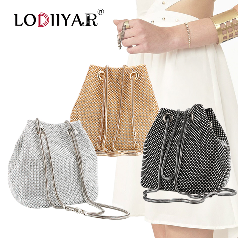 Clutch-Bag Handbags Chain Purse Bridal-Maids Crossbody Wedding Silver Diamond Evening title=