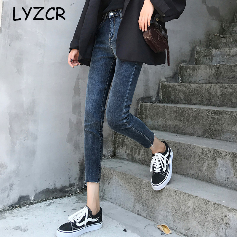 LYZCR High Waist Denim Stretch Jeans Women Spring 2020 Vintage Skinny Jeans Woman High Waist Jeans For Women Pantalon Femme