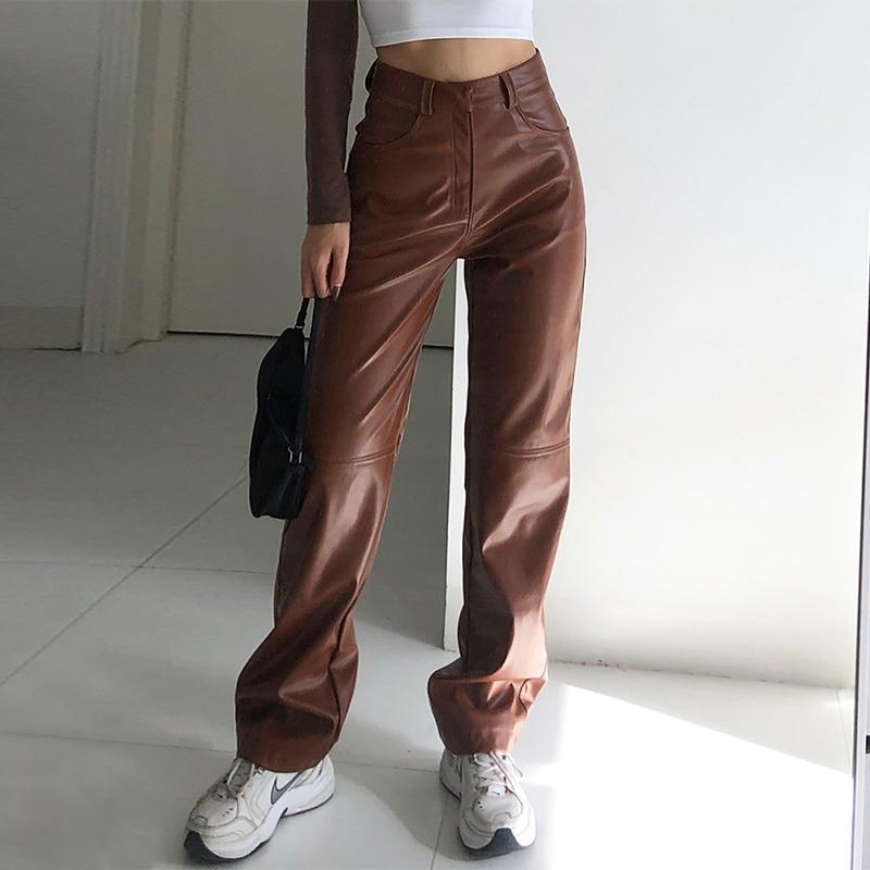 Брюки женские из искусственной кожи с завышенной талией, повседневные модные прямые брюки-джоггеры с боковыми карманами и широкими штанина...