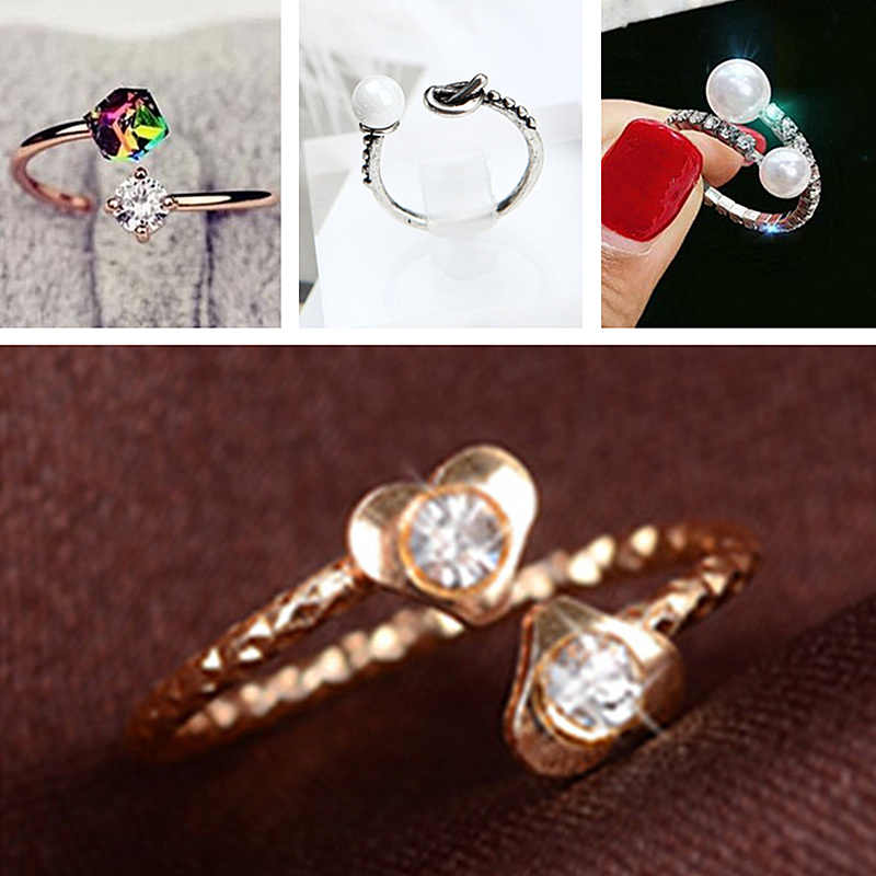 2019 Hot! Fashion Female Heart Crystal Ring Flower Adjustable Ring Vintage Wedding Rings For Women Gifts Wholesale