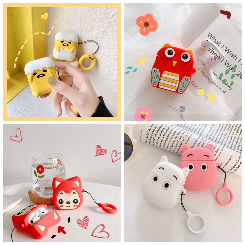 For AirPods Case 3D Cute Cartoon Gudetama Moomin Owl Fox Earphone Case For Apple Airpods 2 Protect Cover With Finger Ring Strap