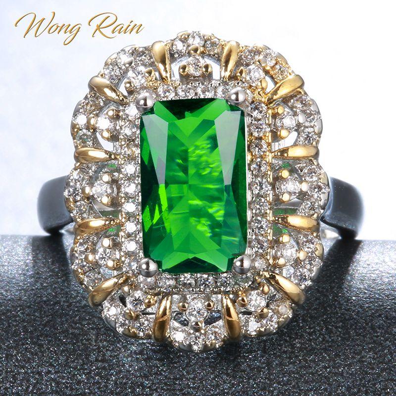 Wong Rain Vintage 100% 925 en argent Sterling émeraude pierre gemme de mariage de fiançailles bague en or blanc bijoux en gros