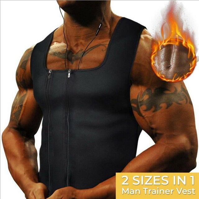 Men's Sweat Body Shaper Belt Belly Men Waist Trainer Zipper Vest Neoprene Top Tank Corset Body Shaper Sauna Slimming Shapewear