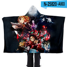 Fashion Cool Boys Girls Flannel Soft Blanket Hoodie Kawaii Demon Slayer Japan Anime Unisex Kpop Lazy Blanket Flannel Cape