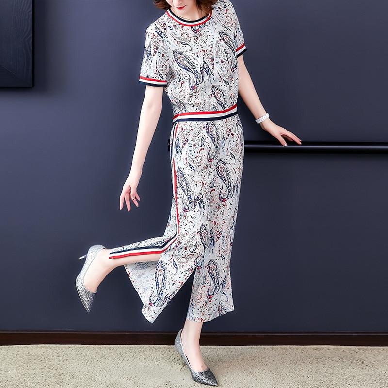 Summer Wear New Style WOMEN'S Dress Printed Short Sleeve Chiffon Drape Loose Pants Set Fashion Western Style Hong Kong Flavor Tw