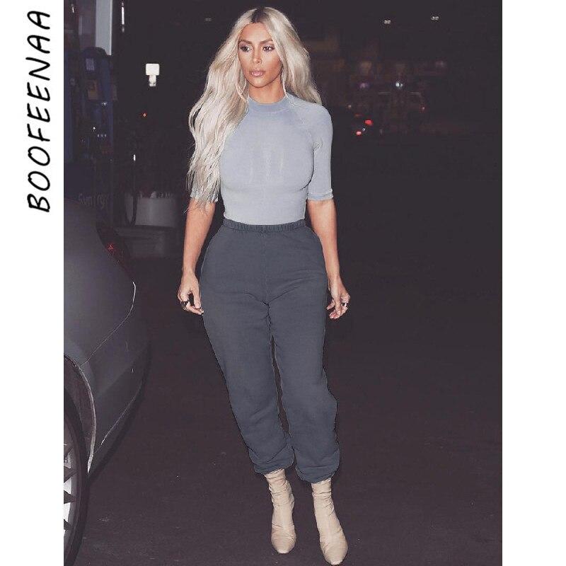 BOOFEENAA Elastic Waist Thick Fleece Sweatpants Autumn Winter Baggy Joggers Mujer Hip Hop Track Pants Women Streetwear C67-AH52