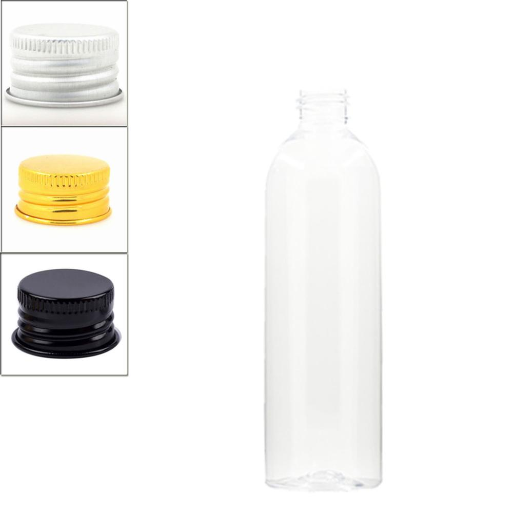 250ml Empty Cosmo Round Plastic Bottle, Clear Pet Bottle With Aluminum Screw Cap