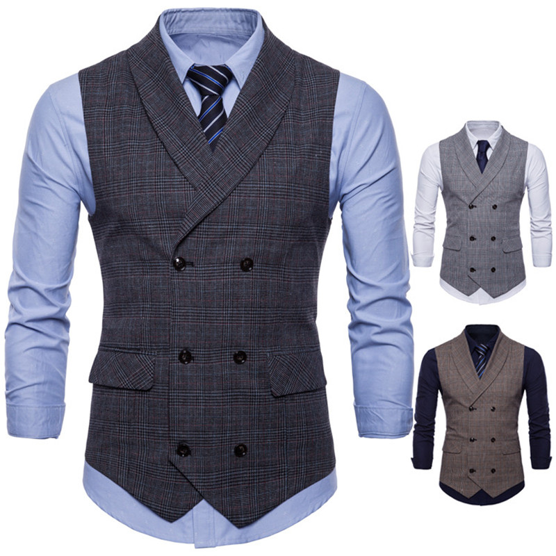 Brand Suit Vest Men Jacket Sleeveless Dark Gray/Gray/Brown Vintage Tweed Vest Fashion Spring Autumn Plus Size Waistcoat