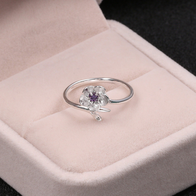 Silver 925 Jewelry Purple Zircon Cherry Ring Simple Fashion Silver Ring For Women Engagement Wedding Elegant Accessories 2