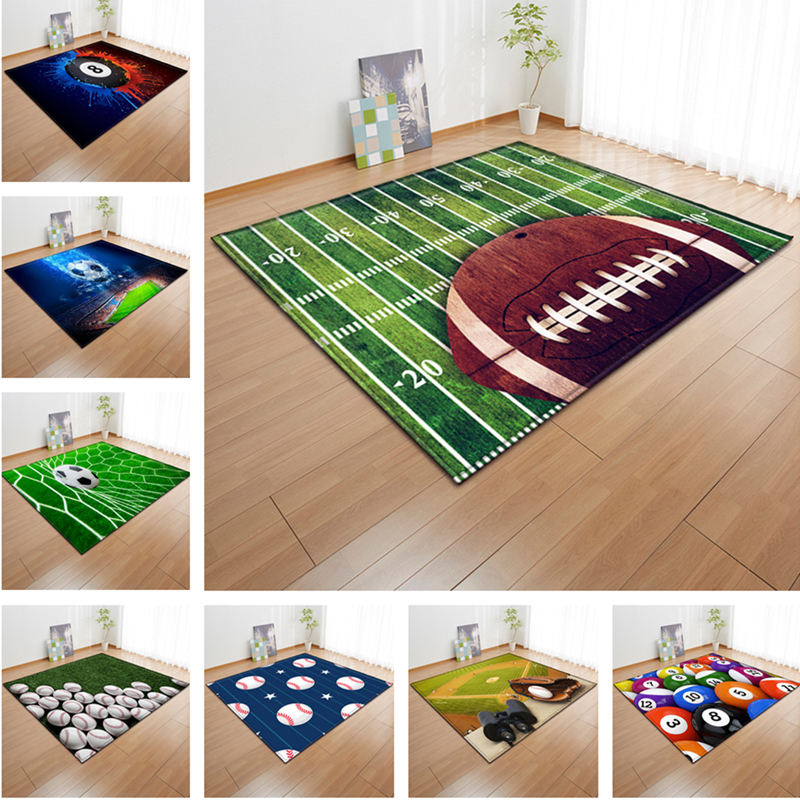 3D Green Football Carpet Kids Room Baseball Rug Field Parlor Bedroom Living Room Floor Mats Children Large Rugs Home Customized