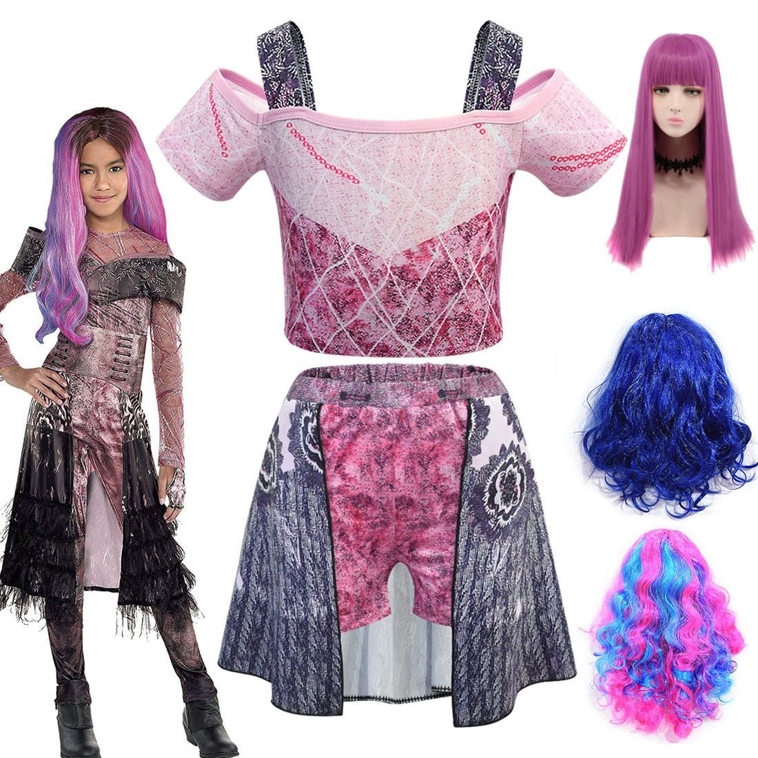 Summer Hot Audrey Costumes Descendants 3 Mal Cosplay Girl Clothing Children's Girls Swimwear Suit Word Shoulder Swimsuit And Wig
