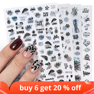 3D Stickers for Nails Design Laser Simple Lines Leaves Geometry Nail Wraps Sticker Art Decorations Transfer Decals LAF654-661