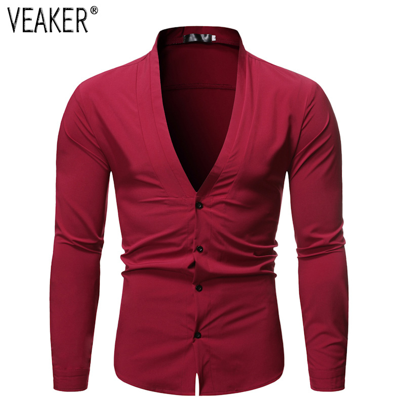 2019 New Men's Sexy Deep V Neck Shirt Male Solid Color Slim Fit Long Sleeve Shirt Men Party Nightclub Business Shirt Tops S-2XL