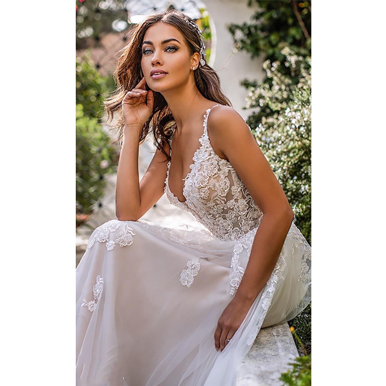 Long Boho A-Line Backless Wedding Dress  3