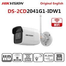 Originele Hikvision Internationale Engels Versie DS 2CD2041G1 IDW1 4 MP IR Vaste Netwerk Bullet WIfi Camera Ingebouwde microfoon
