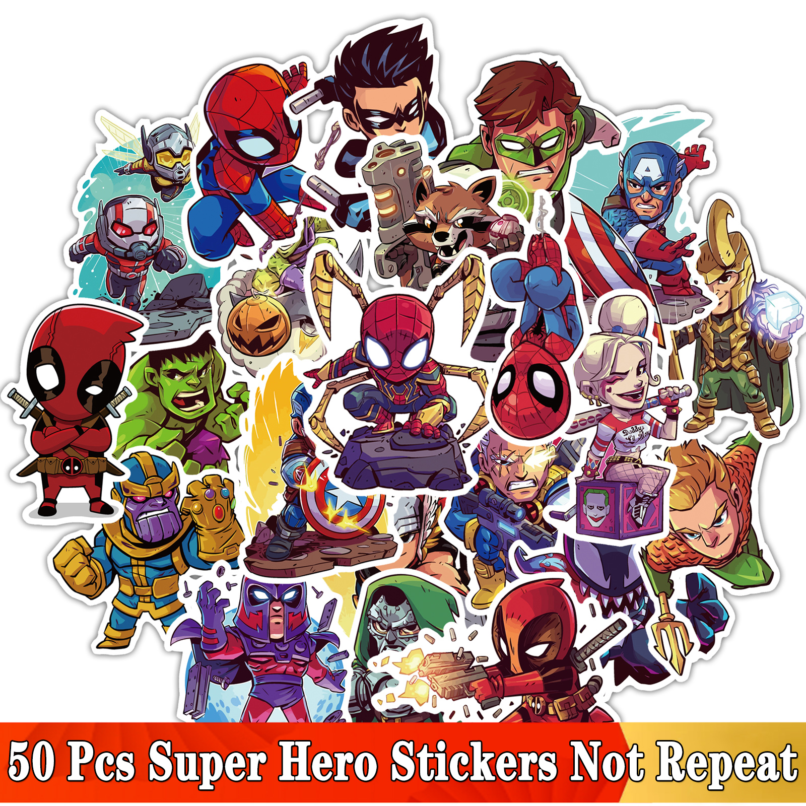50 Pcs/Lot Cartoon Super Hero Stickers For MARVEL JDM Graffiti Sticker For Laptop Moto Skateboard Luggage Guitar Furnitur Decal