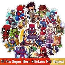 50 unids/lote pegatinas de superhéroes de dibujos animados para MARVEL JDM Graffiti pegatina para ordenador portátil Moto Skateboard equipaje guitarra muebles calcomanía