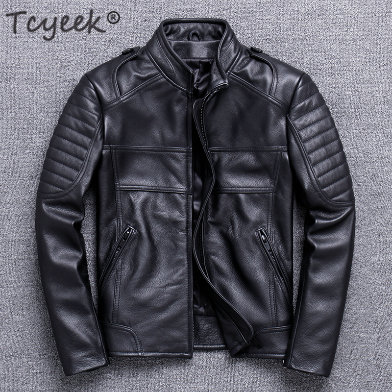 Tcyeek Spring Autumn 100% Genuine Leather Jacket Men Winter Clothes 2020 Streetwear Moto Biker Natural Real Cow Leather Coat 820
