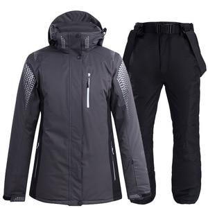 Image 3 - Новинка 2020, теплый зимний лыжный костюм для мужчин и женщин, ветрозащитный водонепроницаемый костюм для катания на лыжах и сноуборде, куртка и брюки, мужской костюм для снега