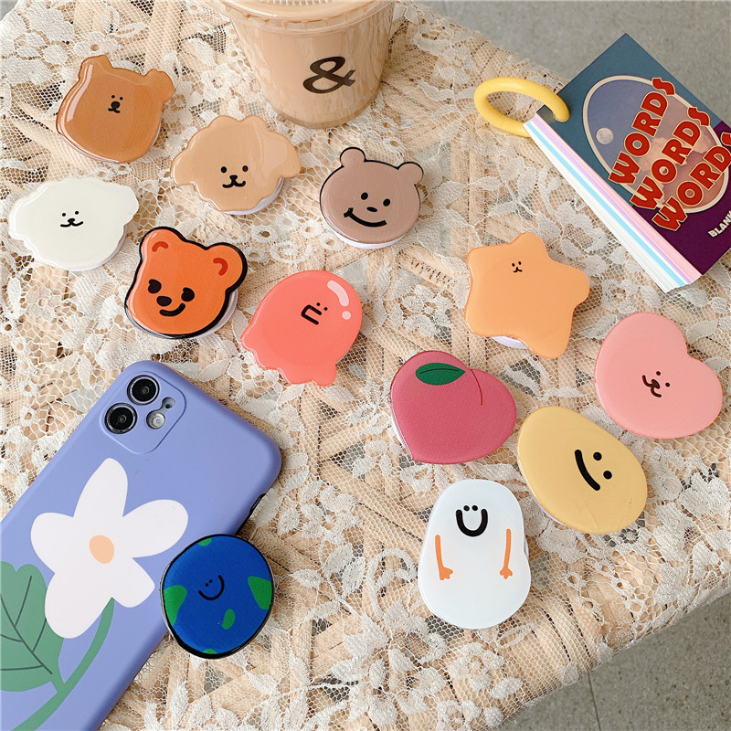 Funny Cute Folding Stand For Mobile Phone Holder For IPhone 7 8 Plus 11 For Samsung For Huawei Phone Case Cartoon Grip Kichstand
