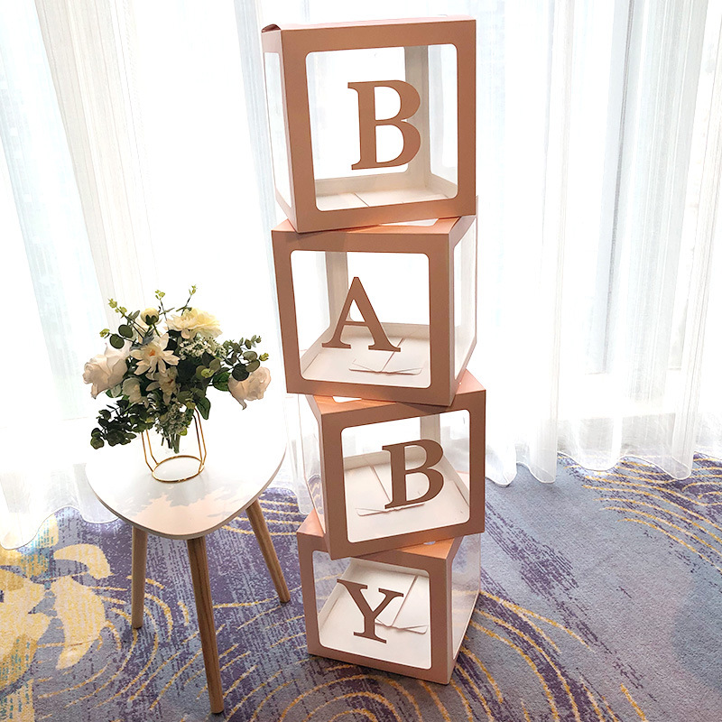 4pcs Balloon Packing Box Cube Transparent Boxes Letter Transparent Boxes BABY LOVE Birthday Special Party DIY