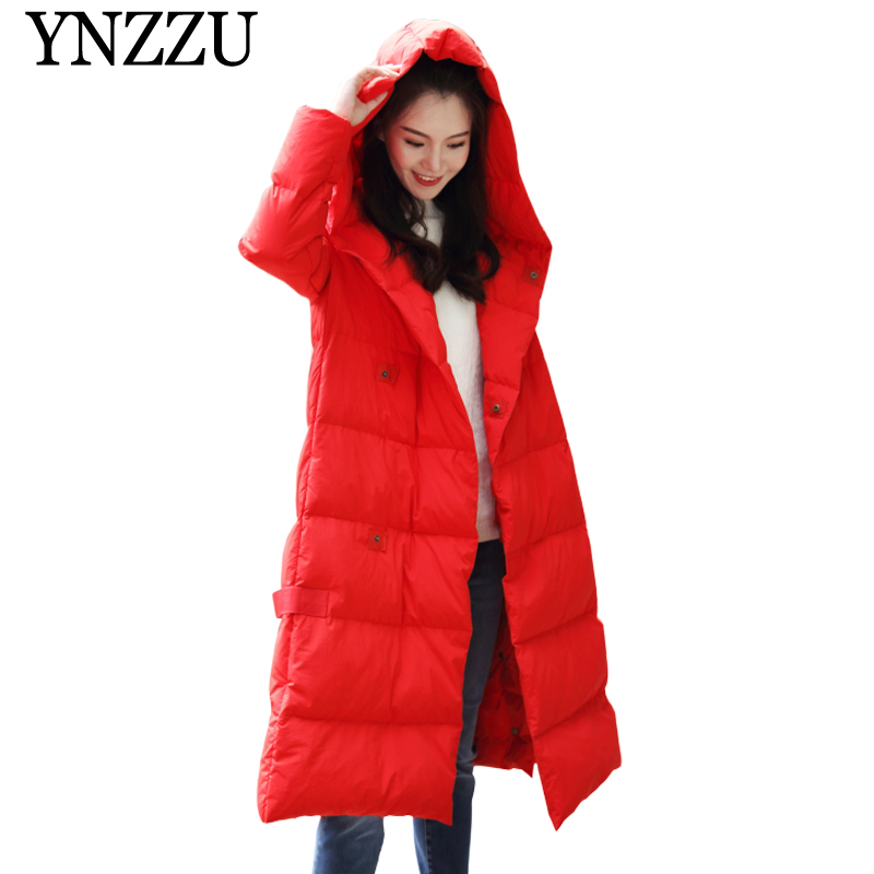 2019 Winter Loose Women   down   jackets New arrival Long sleeve Hooded   Down     coat   Elegant Female Long sleeve Overcoat YNZZU YO999