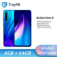 En stock! mundial ROM Xiaomi Redmi Note 8 4GB RAM 64GB ROM Smartphone 48MP Quad Cámara Snapdragon 665 de 6,3 FHD + teléfono móvil