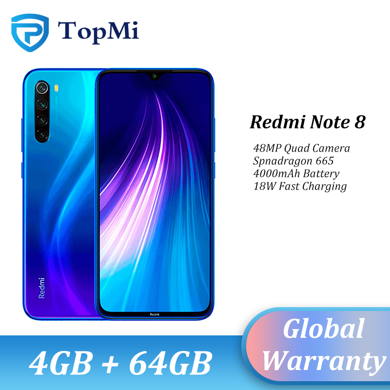 In Stock!Global ROM Xiaomi Redmi Note 8 4GB RAM 64GB ROM Smartphone 48MP Quad Camera Snapdragon 665 6.3