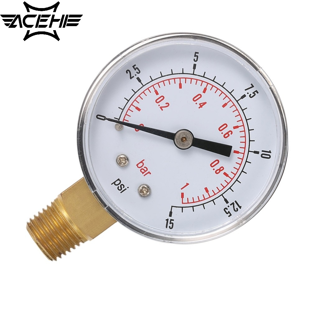 ACEHE New Low <font><b>Pressure</b></font> <font><b>Gauge</b></font> For <font><b>Fuel</b></font> Air Oil Or Water 50mm 0-15 PSI 0-1 <font><b>Bar</b></font> 1/4 Inch BSPT TS-50 Double Scale Measurer image
