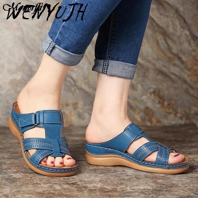 Dropship Orthopedic Sandals Women Men Bunion Corrector Low Heels Walking Sandals Toe Corrector Cusion Open Toe Comfy Sandals