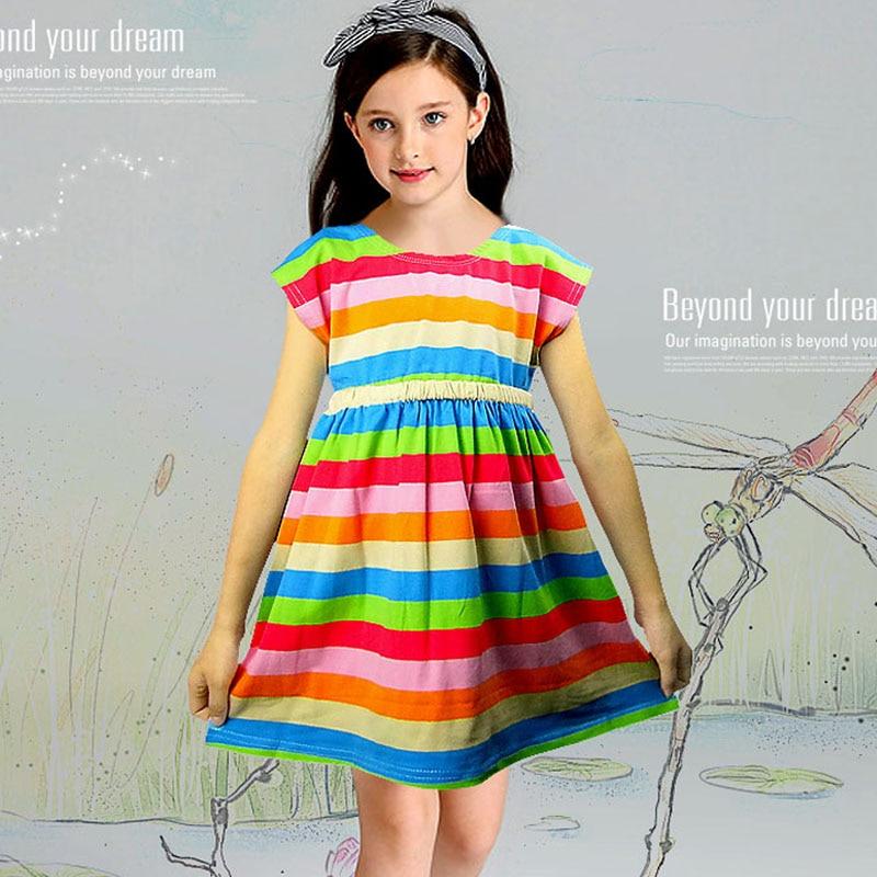 Knit Girl Dress 2019 Summer New Fashion Sleeveless Striped Dress Girl Casual Cotton Dress