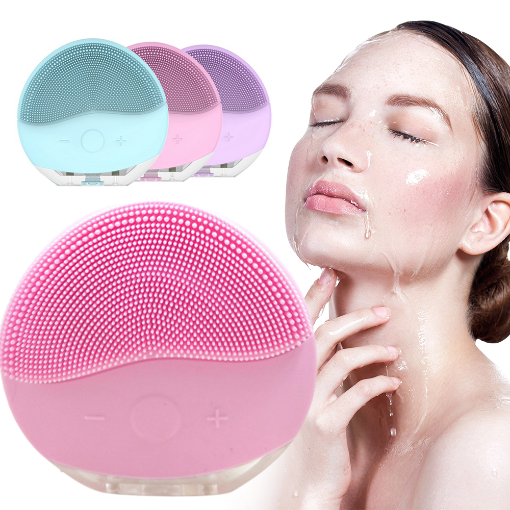 Electric Facial Silicone Cleaning Brush For Facial Massage Sonic Vibration Waterproof Vibrating Machine Pore Cleaner Skin Care