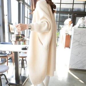 2020 Long Cardigan Women Sweater Autumn Winter Bat Sleeve Knitted Sweater Plus Size Jacket Loose Ladies Sweaters Cardigans 3XL