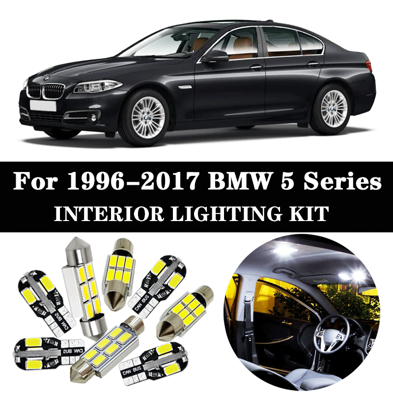 Perfect White Error Free Canbus <font><b>LED</b></font> Lamp <font><b>interior</b></font> dome map roof light <font><b>bulb</b></font> Kit for 1996-2017 <font><b>BMW</b></font> 5 Series E39 <font><b>E60</b></font> E61 F10 F11 image