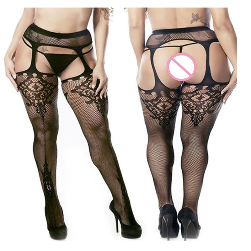 14 Styles Fashion Women Lace Suspender Pantyhose Tights Plus Size Stockings Hollow Sheer Sexy Fishnet Thigh High Pantyhose