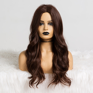 Image 5 - Long Wavy Hairstyle Synthetic Wigs Middle Part Blonde Natural Hair Wigs For Afro Women Cosplay Wigs Heat Resistant Fiber