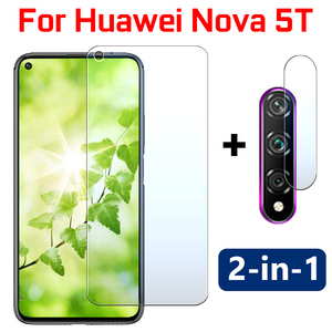 2in1 Nova 5T protective glass on for Huawei Nova5T 5 T T5 Screen Protector glas sheet Len Tempered Glas With Camera Lens film(China)