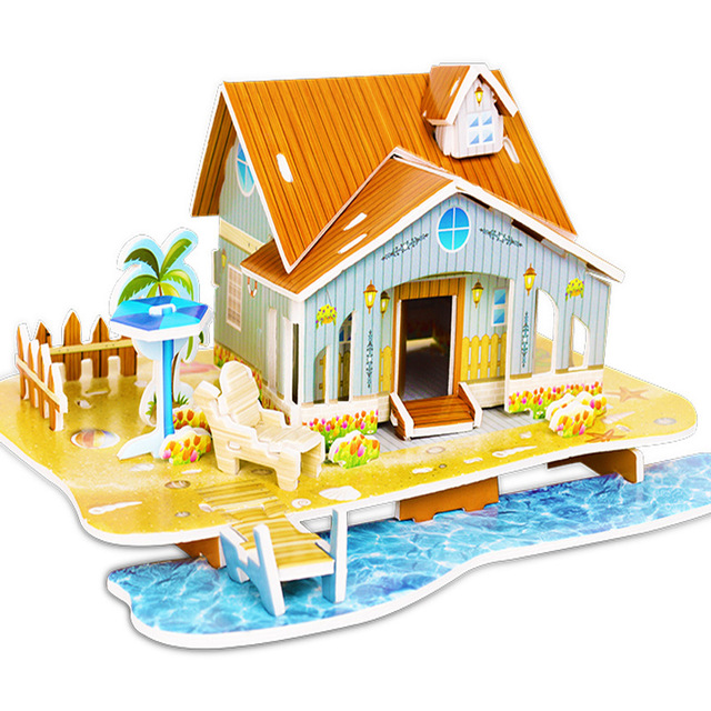 Attractive Cartoon Castle Garden Zoo Princess House 3D Puzzle Jigsaw Paper Model Learning Educational Toys For Children Kid Gift 4