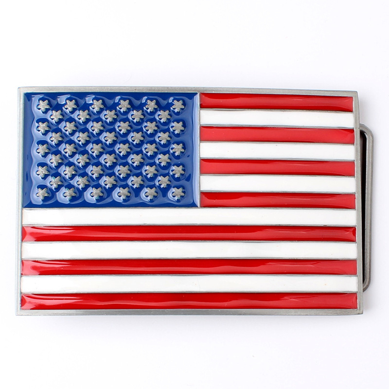 Retail New Style Rectangle 9*6cm American Flag Metal Belt Buckle With Fashion Men Women Jeans Accessories Fit 4cm Wideth Belt