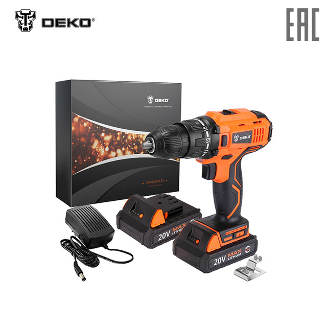 $ US $75.11 Drill-шуруповёрт Deko 20 v (2 batteries) org20du3-s2 electric cordless electric drill-screwdriver