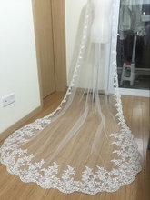1T white/ivory lace applique edge cathedral wedding bridal veil with comb bridal headwear bride accessories(China)