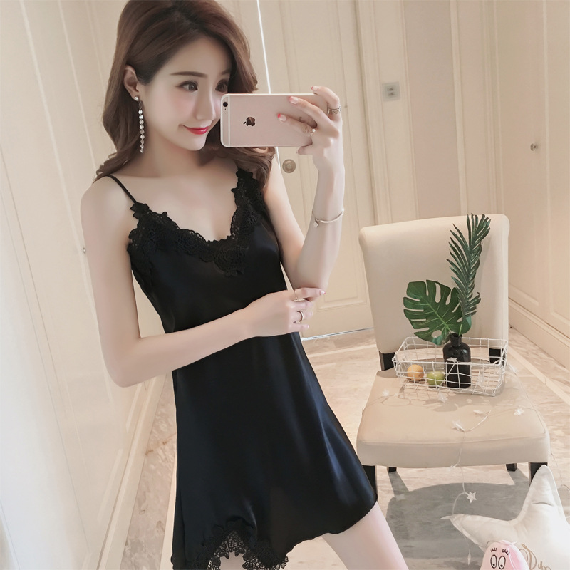 Pajamas Women's Summer New Style Imitated Silk Fabric Sexy Camisole Solid Color Supreme Seduction Tracksuit Nightgown A-Piece