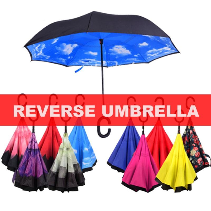 Reverse Umbrella Rain Women Double Layer Inverted Umbrella parasol Windproof Rain Car Inverted Umbrellas For Women Men(China)