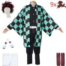Костюм для косплея танджиро камадо для взрослых и детей, костюм-кимоно из м/ф «Клинок-убийца демонов» для Хэллоуина