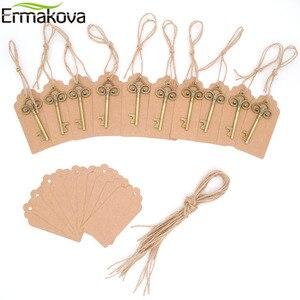 Image 2 - ERMAKOVA 50ชิ้น/ล็อตที่เปิดขวดโครงกระดูกไวน์Blank Cardสำหรับผู้เข้าพักRustic Wedding Party Favorsของขวัญของที่ระลึก